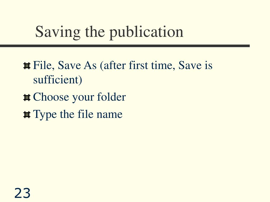 Saving the publication