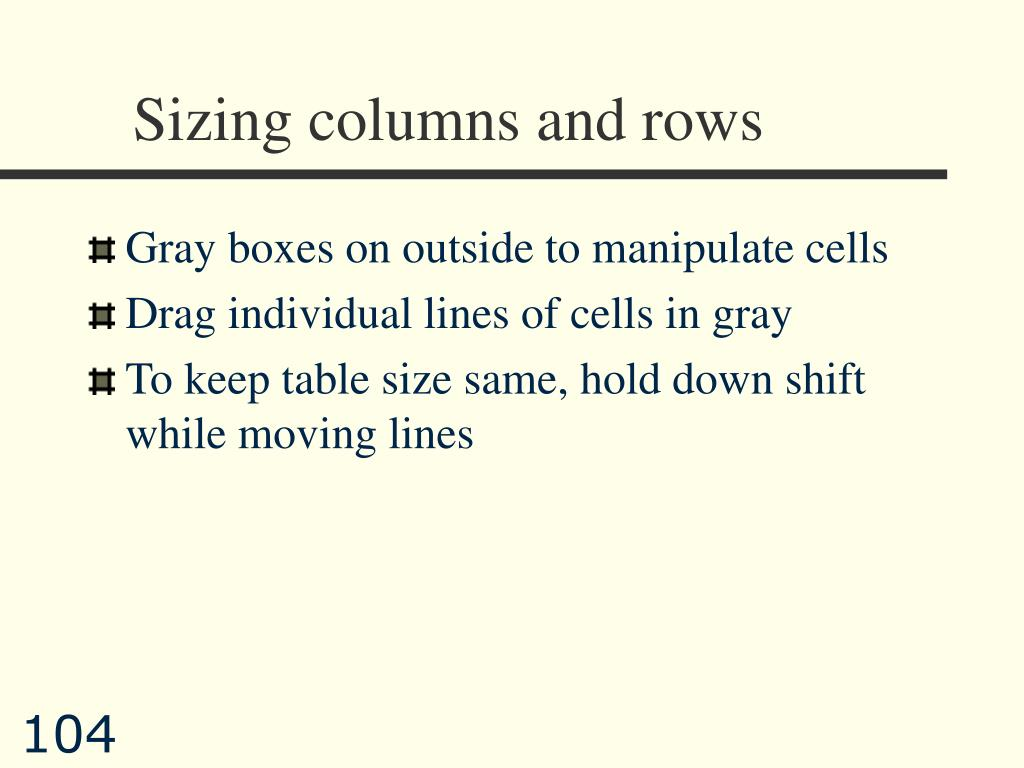 Sizing columns and rows