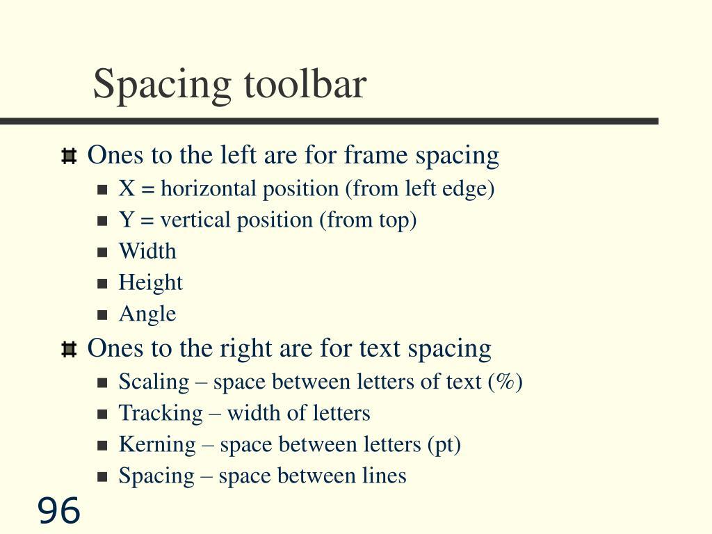 Spacing toolbar