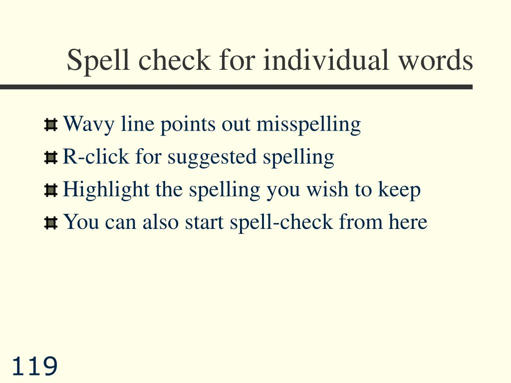 Spell check for individual words