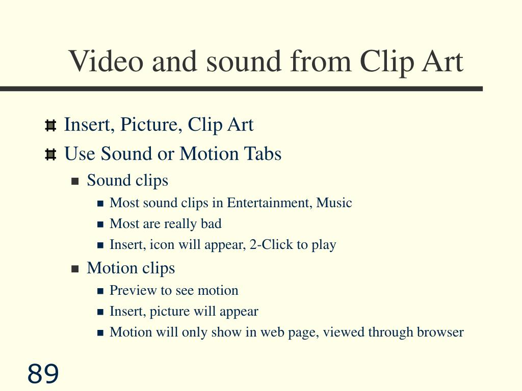 Video and sound from Clip Art