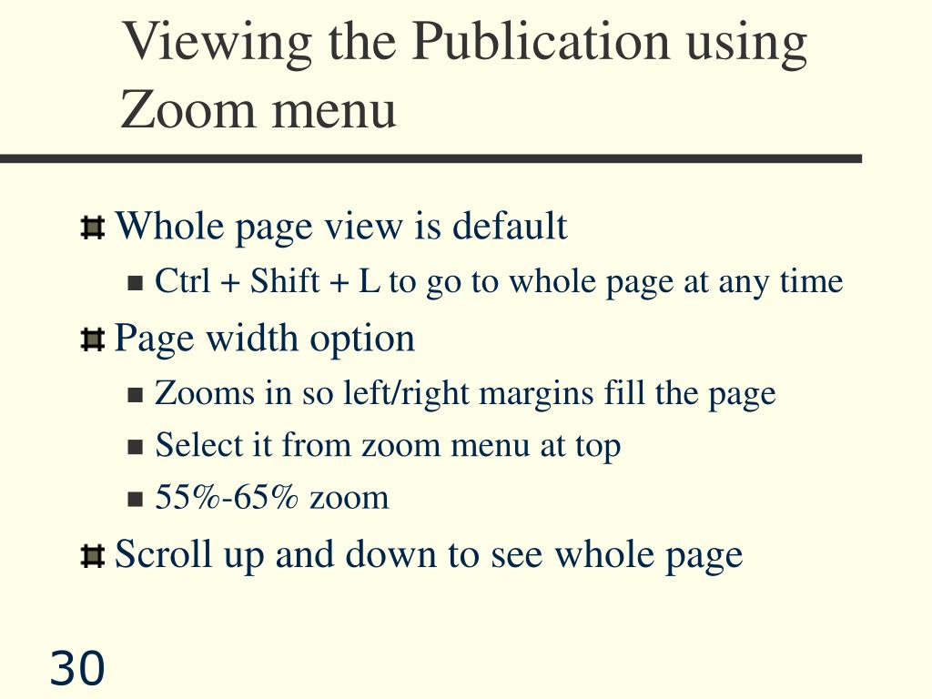 Viewing the Publication using Zoom menu