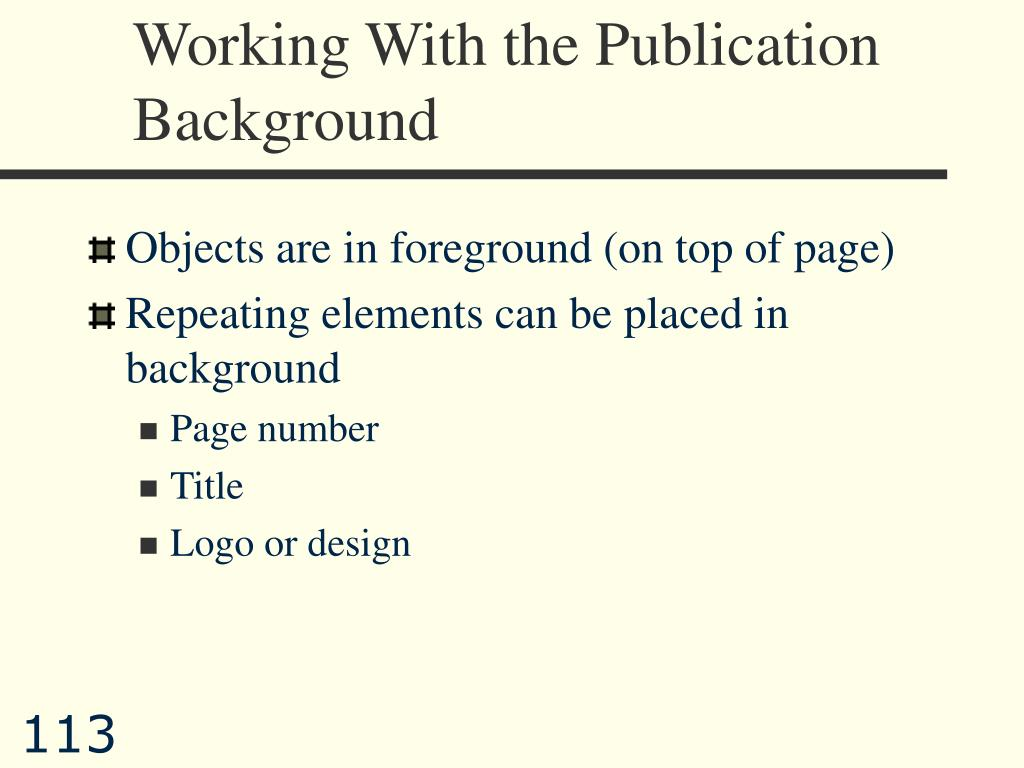 Working With the Publication Background