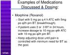 examples of medications discussed dosing