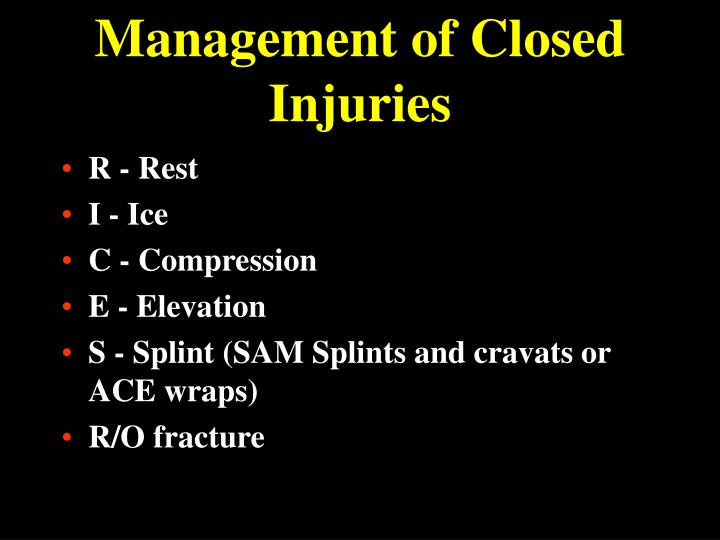 Management of Closed Injuries