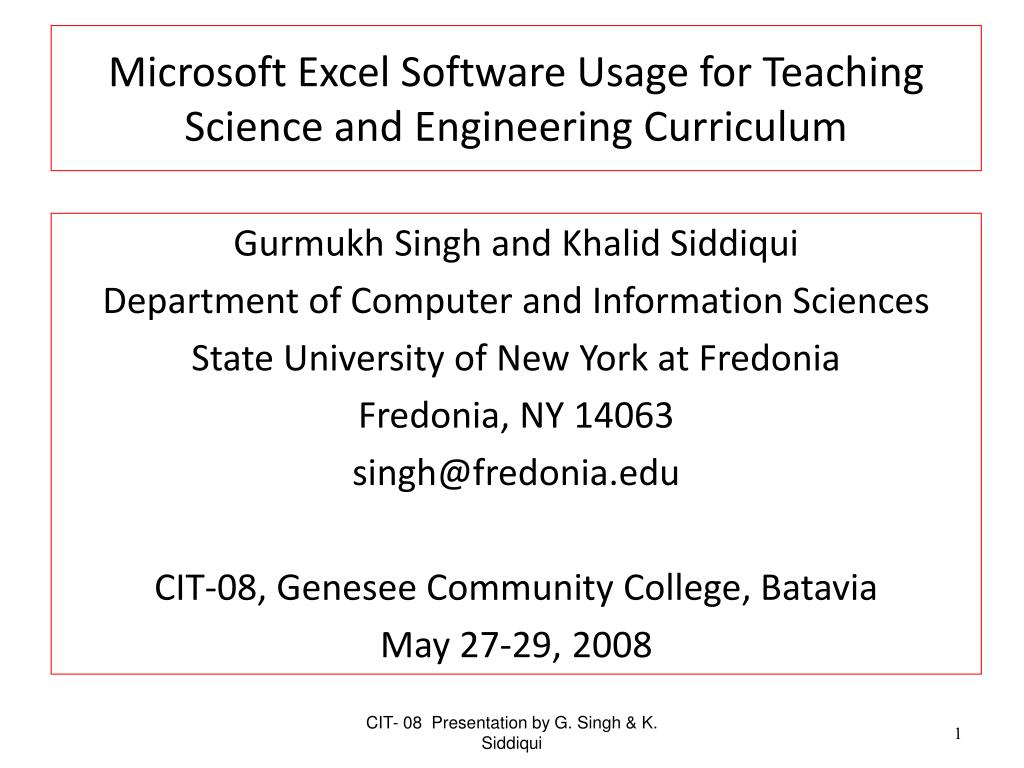 microsoft excel software usage for teaching science and engineering curriculum l.