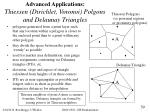 advanced applications thiessen dirichlet voronoi polgons and delaunay triangles