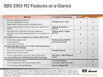 sbs 2003 r2 features at a glance