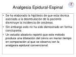 analgesia epidural espinal
