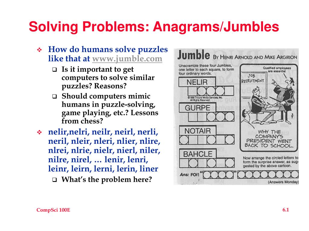 solving problems anagrams jumbles l.