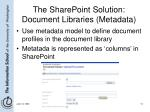the sharepoint solution document libraries metadata