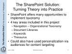 the sharepoint solution turning theory into practice
