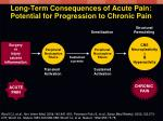 long term consequences of acute pain potential for progression to chronic pain
