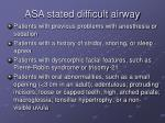 asa stated difficult airway
