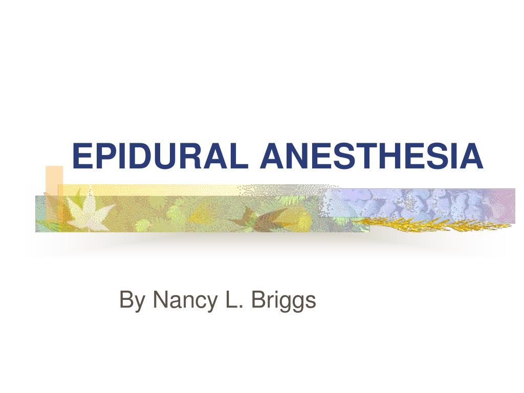 epidural anesthesia l.