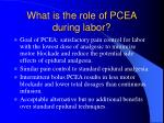 what is the role of pcea during labor