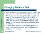 changing data in a cell