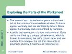exploring the parts of the worksheet