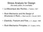 stress analysis for design the early years for example