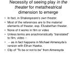 necessity of seeing play in the theater for metatheatrical dimension to emerge