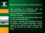what is the need for medical ethics