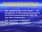 boaventura de sousa santos on the epistemology of the south