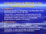critical theory method in the world social forum