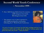 second world youth conference november 1999
