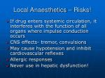 local anaesthetics risks