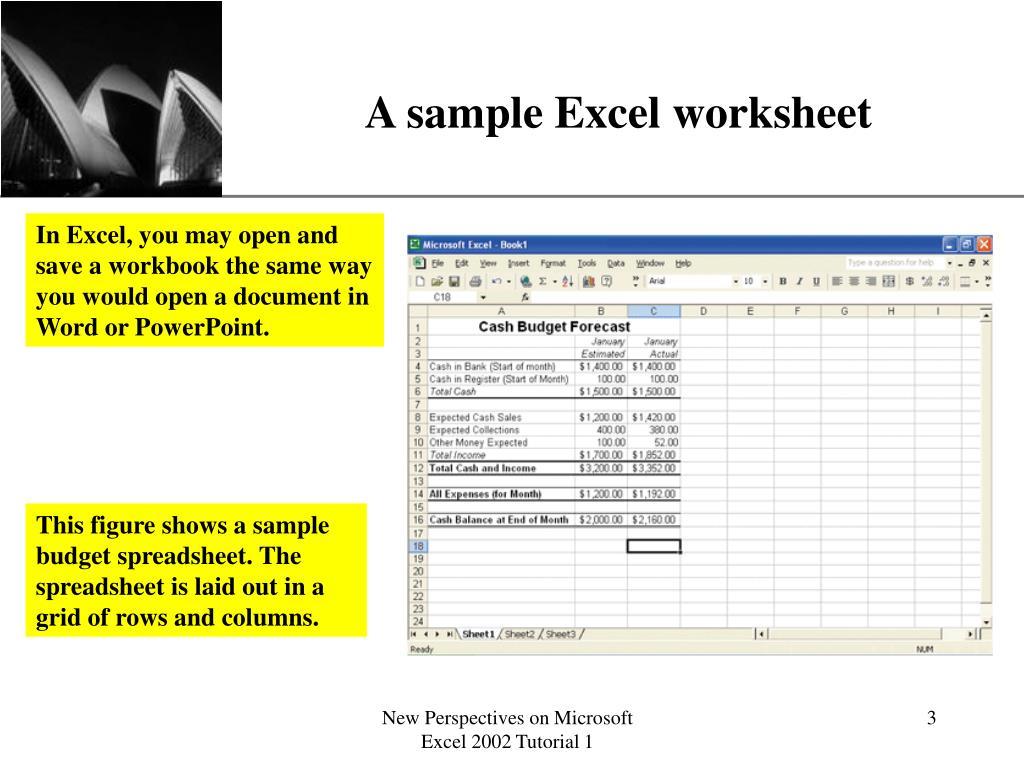 A sample Excel worksheet