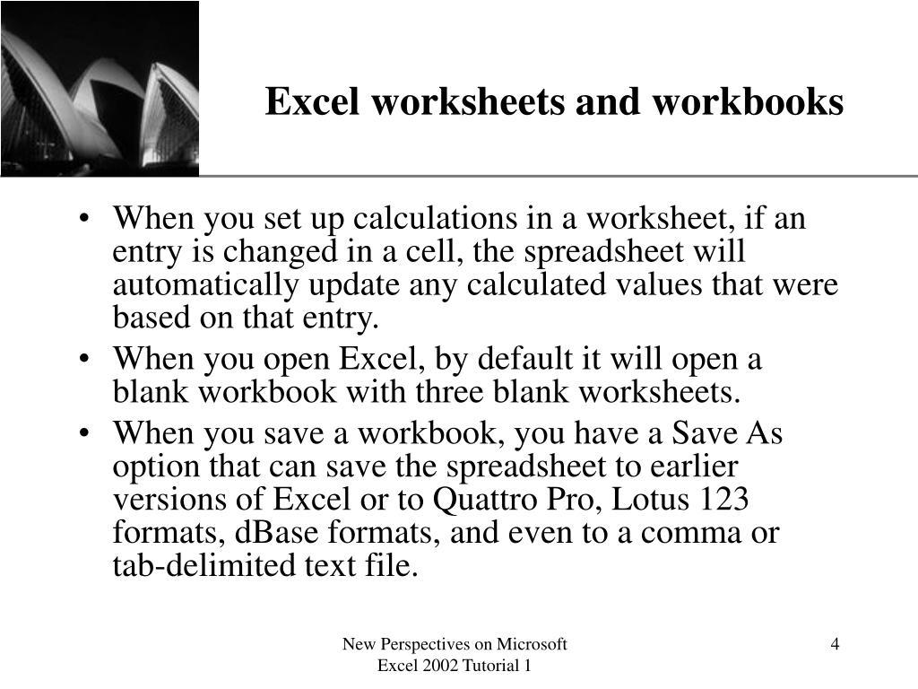 Excel worksheets and workbooks
