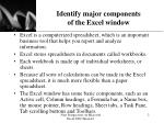 identify major components of the excel window