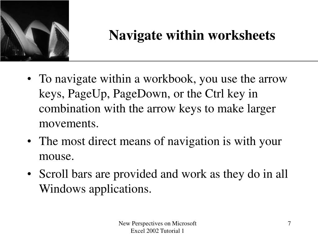 Navigate within worksheets