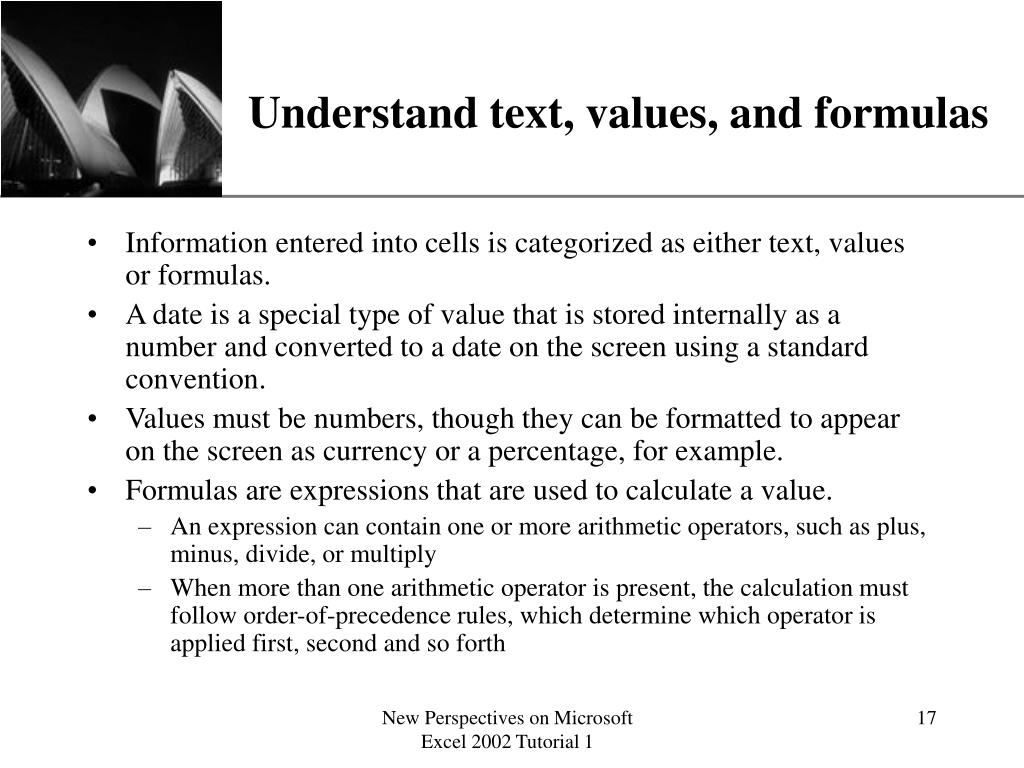 Understand text, values, and formulas