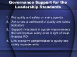 governance support for the leadership standards