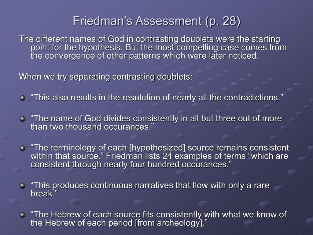 Friedman's Assessment (p. 28)