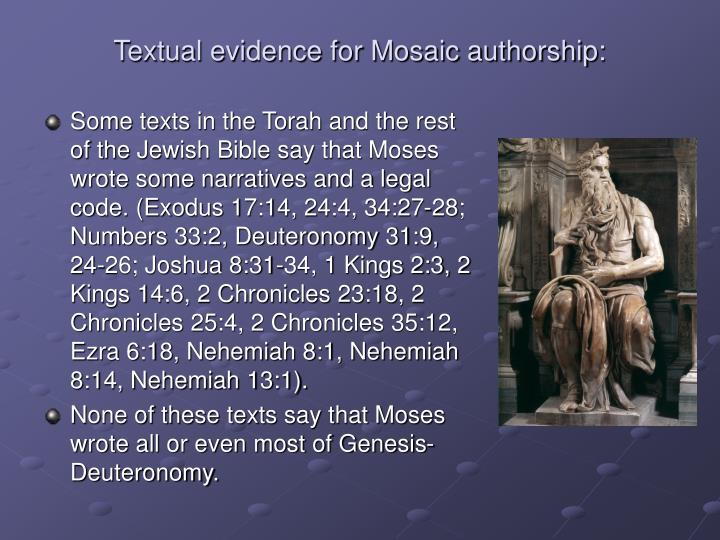 Textual evidence for mosaic authorship