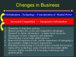 changes in business