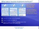 what about favorite keyboard shortcuts19