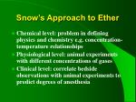 snow s approach to ether