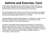 asthma and exercise cont