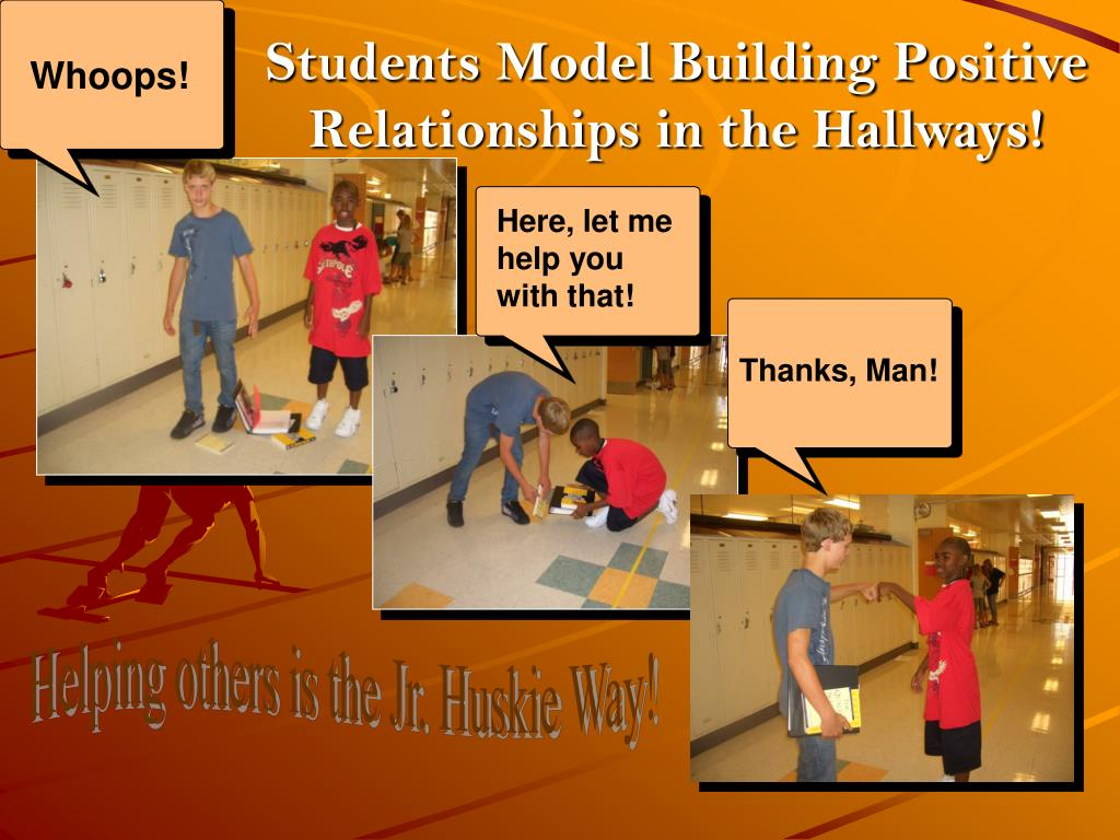 Students Model Building Positive Relationships in the Hallways!