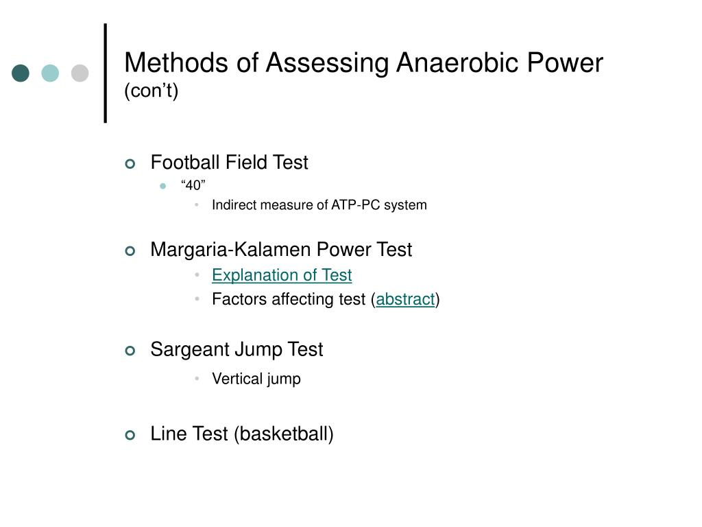 Methods of Assessing Anaerobic Power