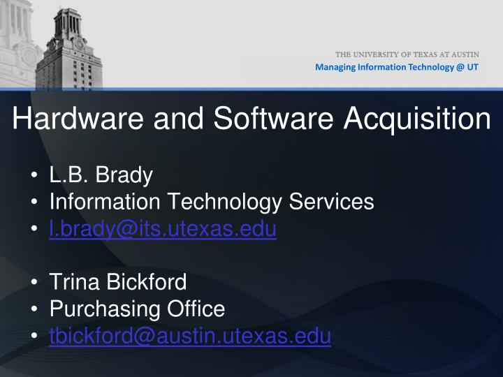Hardware and software acquisition2