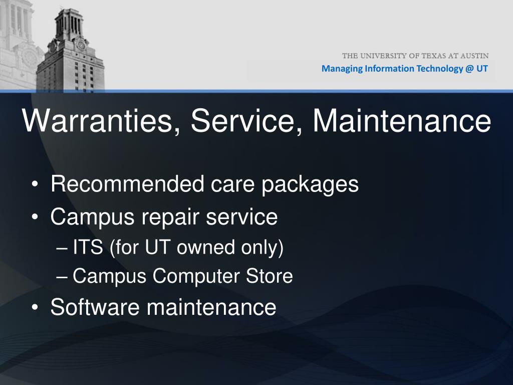 Warranties, Service, Maintenance