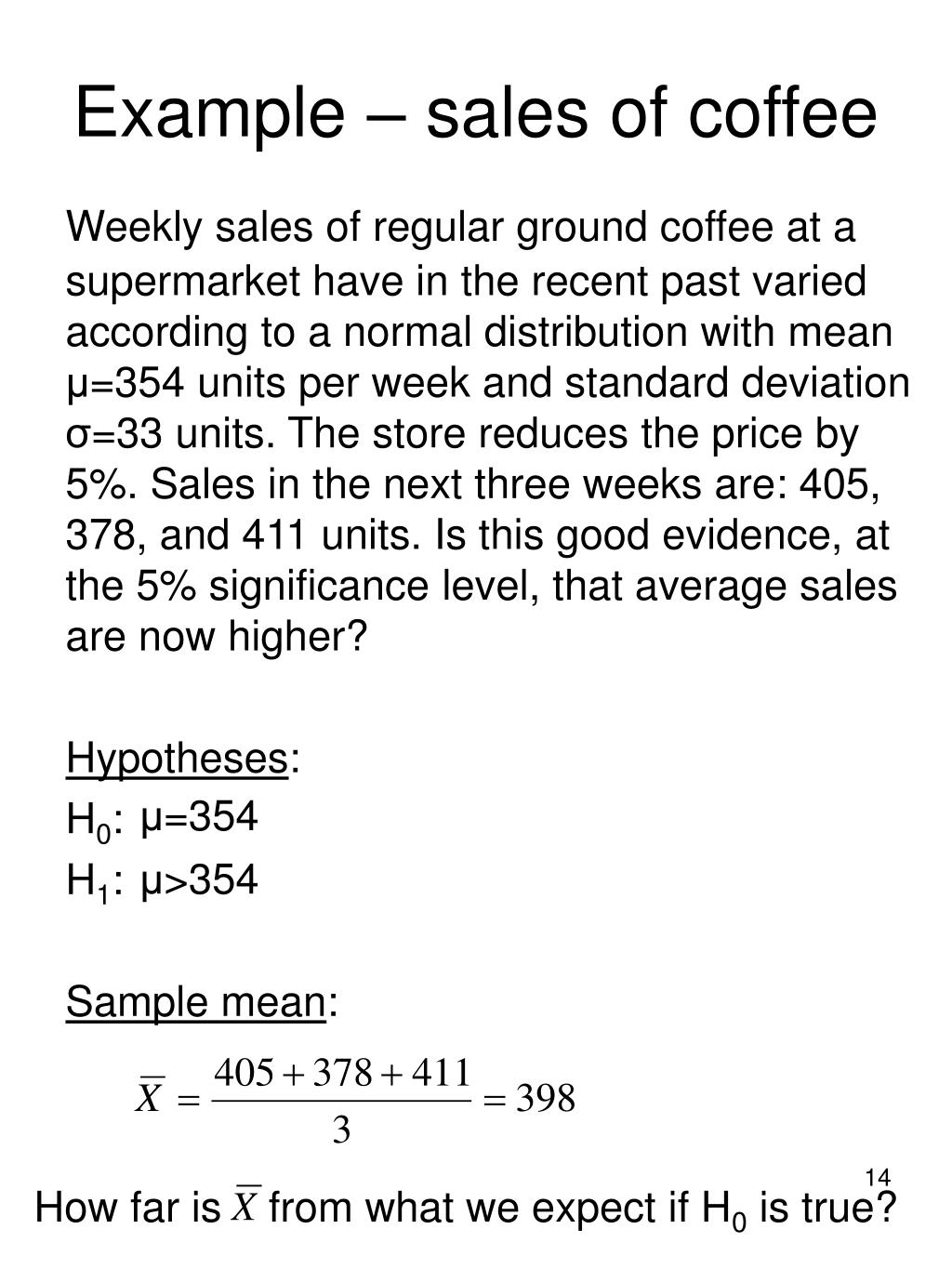 Example – sales of coffee