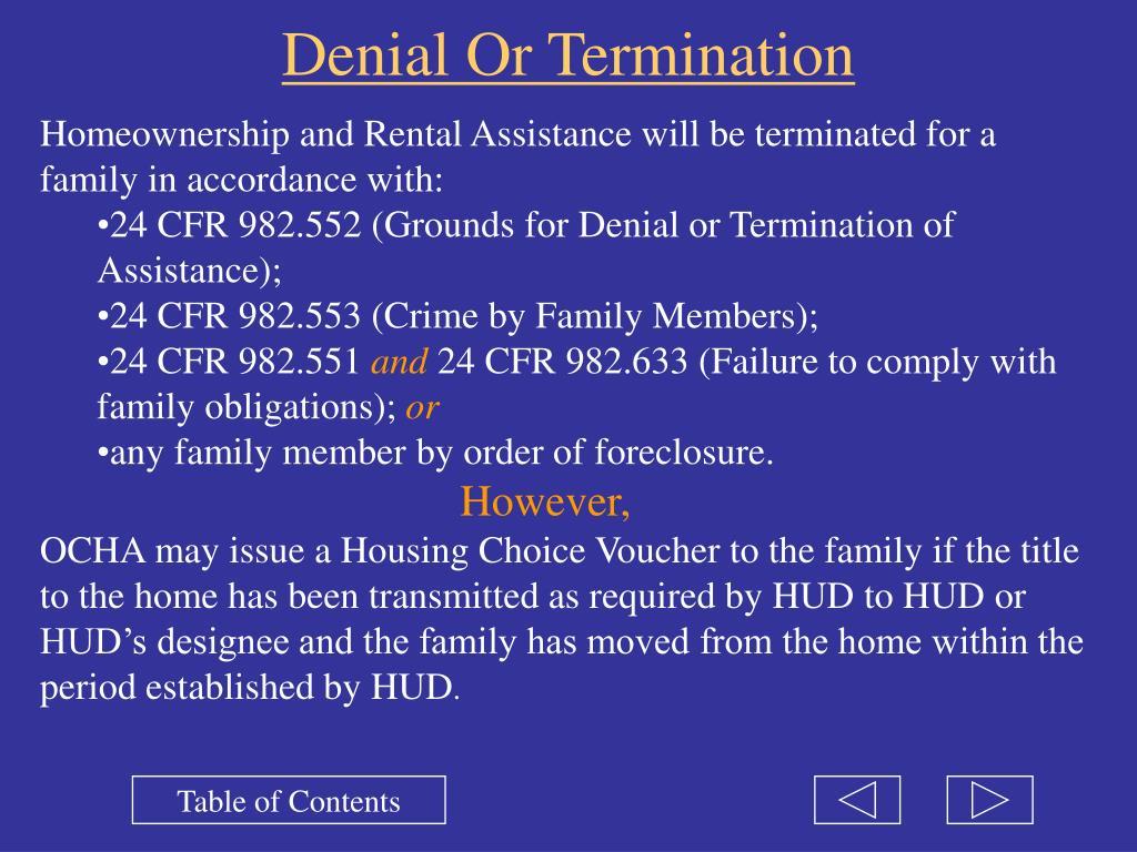 Denial Or Termination