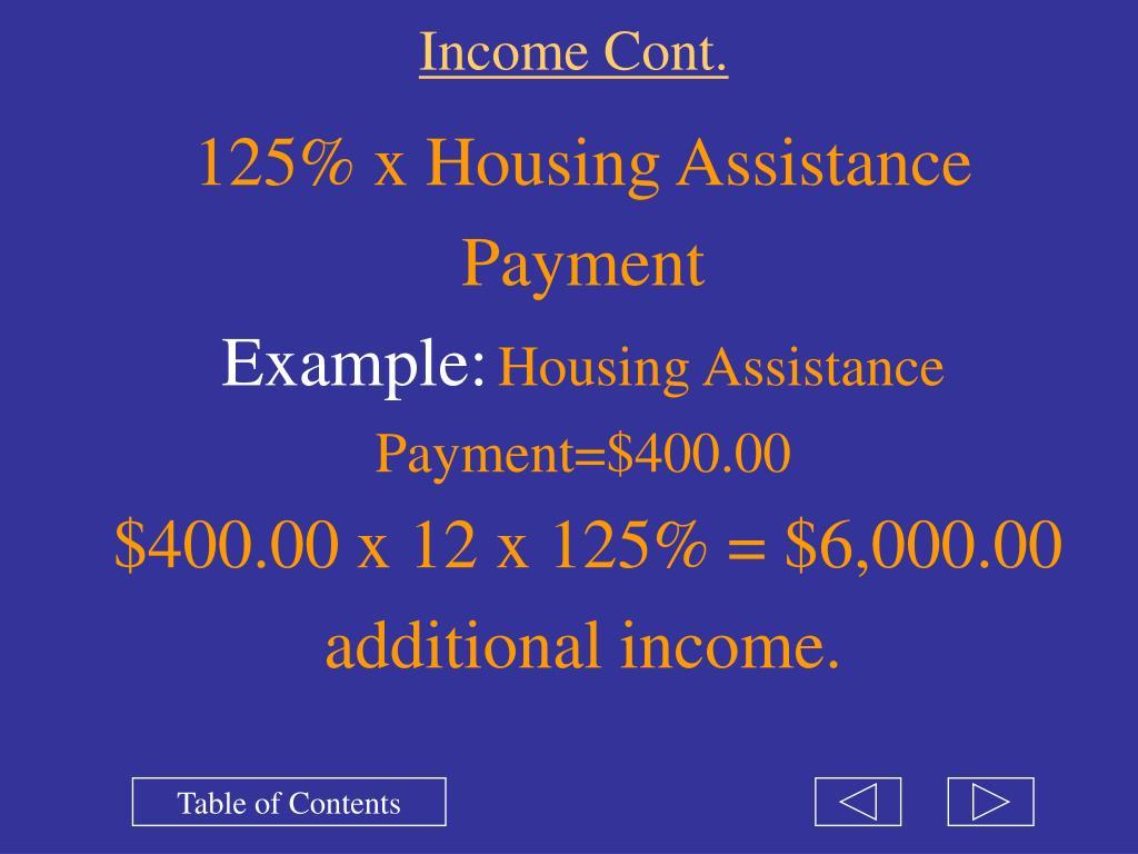 Income Cont.