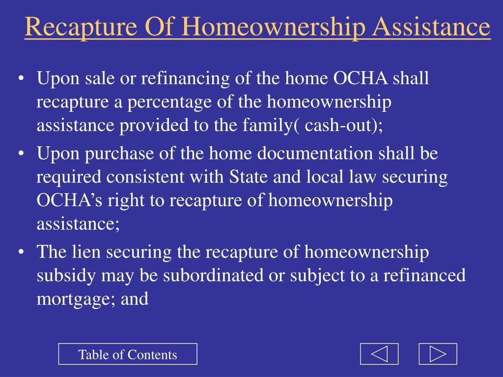 Recapture Of Homeownership Assistance