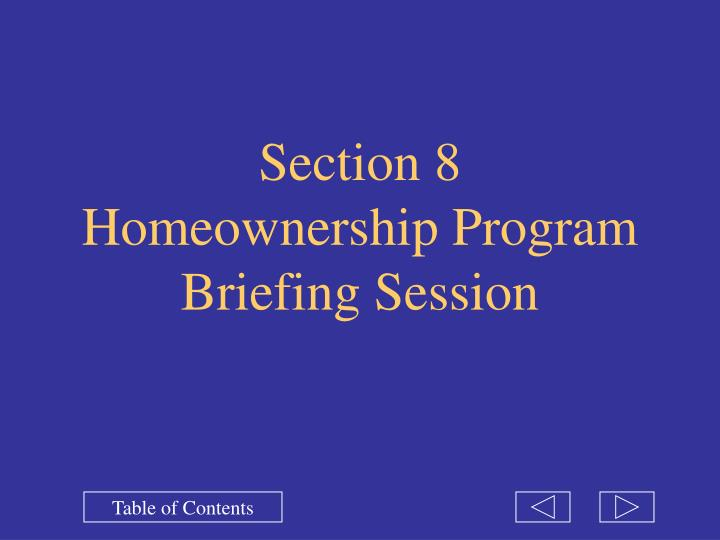 Section 8 homeownership program briefing session